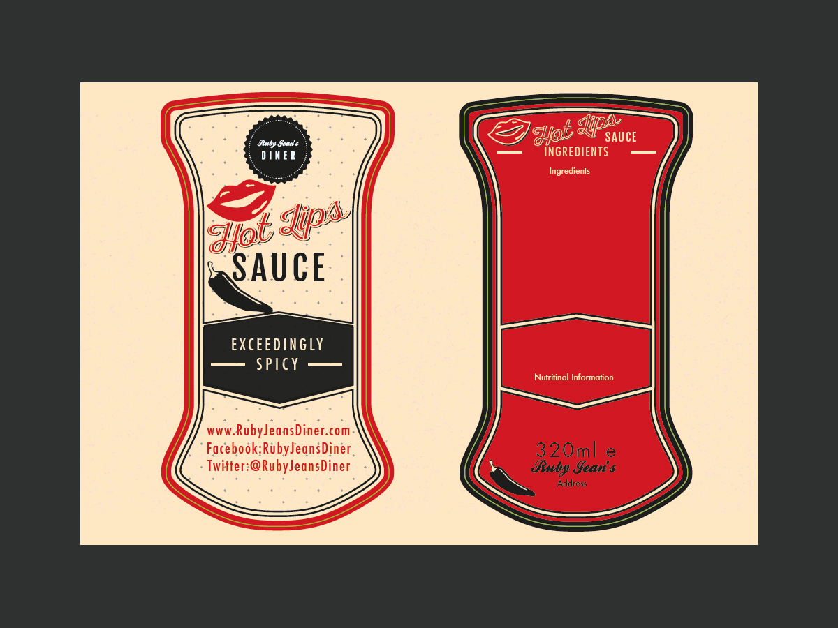 hot sauce label, Ruby Jeans Diner Label desgin