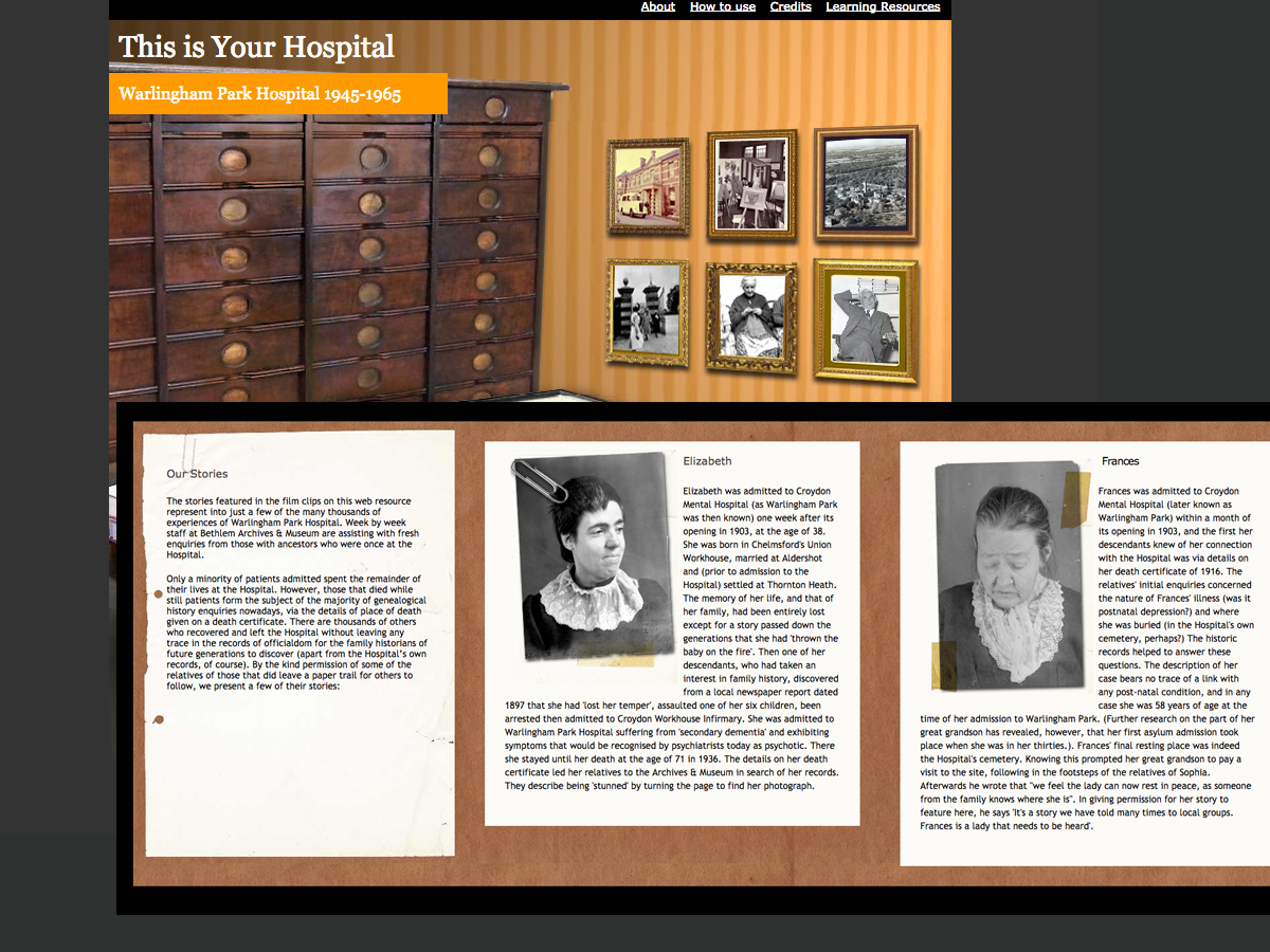 Bethlem hospital museum.                           online learning resources
